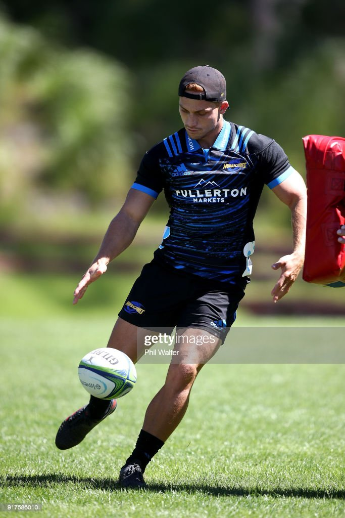 Ihaia West of the Hurricaes kicks ahead during a Hurricanes Super Rugby training session at Rugby League Park on February 13, 2018 in Wellington, New Zealand.