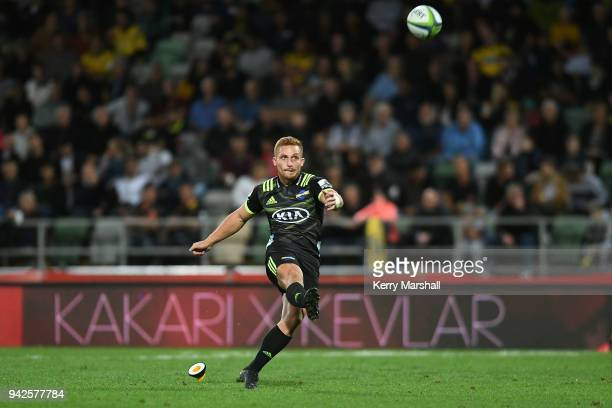 Ihaia West of the Hurricanes kicks a conversion during the round eight Super Rugby match between the Hurricanes and the Sharks at McLean Park on...