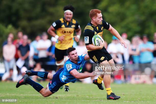 Ihaia West of the Hurricanes makes a break during the Super Rugby trial match between the Blues and the Hurricanes at Mahurangi Rugby Club on...