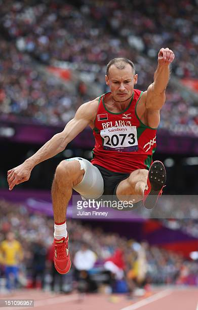 Ihar Fartunau of Belarus competes in the Men's Long Jump F13 on day 3 of the London 2012 Paralympic Games at Olympic Stadium on September 1 2012 in...