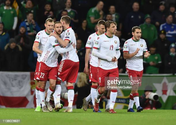 Ihar Stasevich of Belarus celebrates after scoring his team's first goal with team mates during the 2020 UEFA European Championships Group C...
