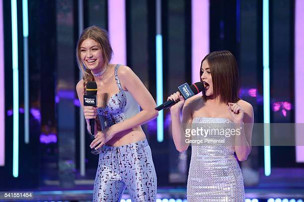 iHeartRADIO MuchMusic Video Awards host Gigi Hadid and Lucy Hale present at the 2016 iHeartRADIO MuchMusic Video Awards at MuchMusic HQ on June 19...