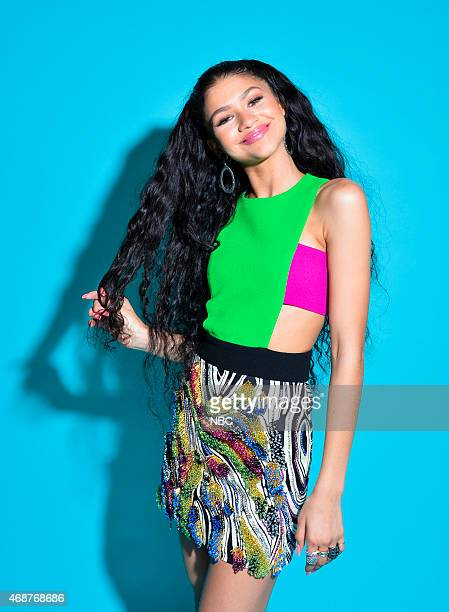 Actress/recording artist Zendaya poses in the NBC photo booth during the 2015 iHeartRadio Music Awards held at the Shrine Auditorium on March 29 2015...