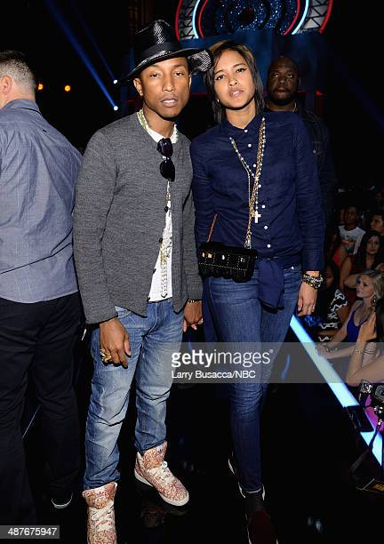 iHEARTRADIO MUSIC AWARDS Pictured Musician Pharrell Williams and Helen Lasichanh attend the iHeartRadio Music Awards held at the Shrine Auditorium on...