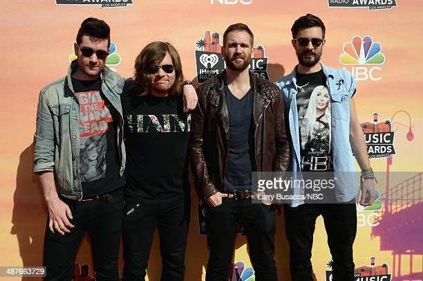 iHEARTRADIO MUSIC AWARDS Pictured Musicians Dan Smith Chris 'Woody' Wood Will Farquarson and Kyle Simmons of Bastille arrive at the iHeartRadio Music...