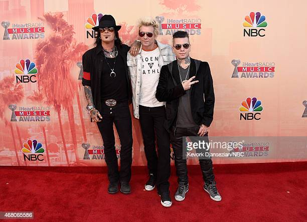 iHEARTRADIO MUSIC AWARDS Pictured Musicians Nikki Sixx James Michael and DJ Ashba of SixxAM arrive at the iHeartRadio Music Awards held at the Shrine...