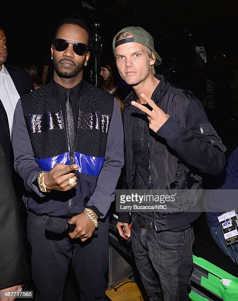 iHEARTRADIO MUSIC AWARDS Pictured Rapper Juicy J and DJ Avicii attend the  iHeartRadio Music Awards held