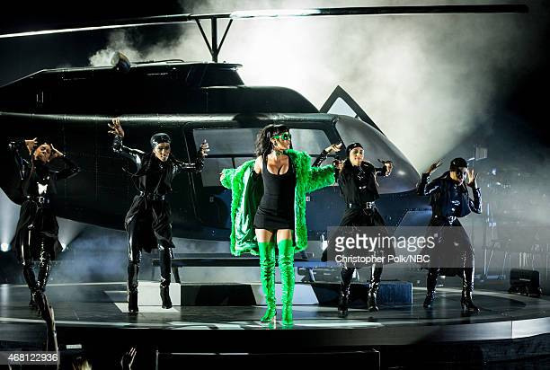 IHEARTRADIO MUSIC AWARDS -- Pictured: Recording artist Rihanna performs onstage at the iHeartRadio Music Awards held at the Shrine Auditorium on...