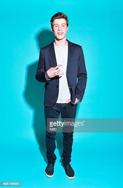 Recording artist Shawn Mendes poses in the NBC photo booth during the 2015 iHeartRadio Music Awards held at the Shrine Auditorium on March 29 2015 in...