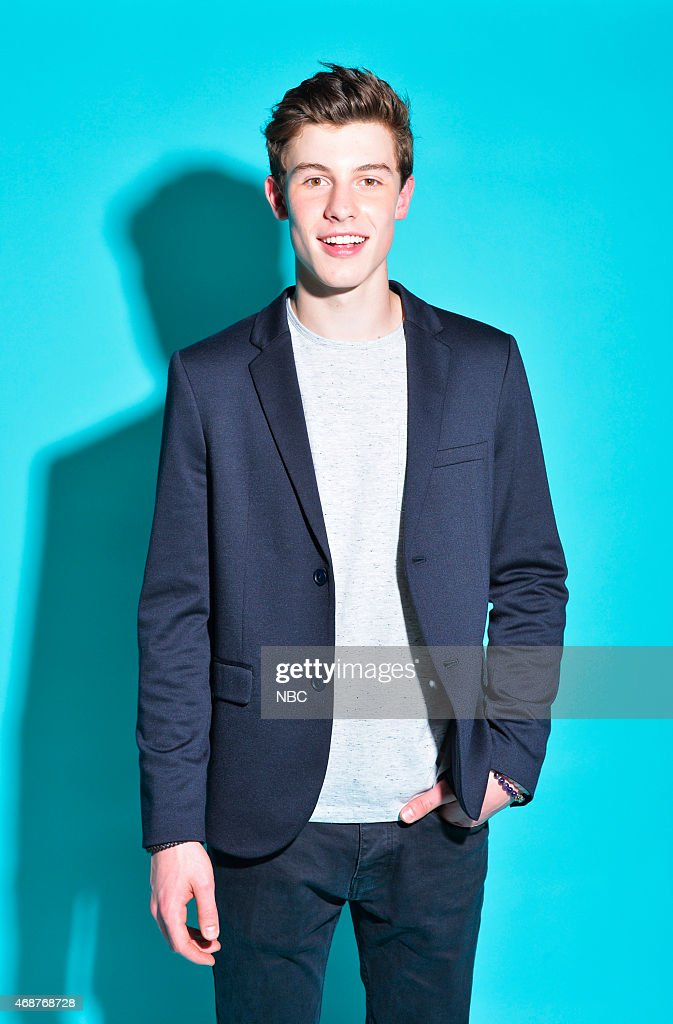 Recording artist Shawn Mendes poses in the NBC photo booth during the 2015 iHeartRadio Music Awards held at the Shrine Auditorium on March 29, 2015 in Los Angeles, California.--
