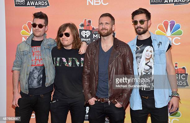 iHEARTRADIO MUSIC AWARDS Pictured Recording artists Dan Smith Chris 'Woody' Wood Will Farquarson and Kyle Simmons of music group Bastille arrive at...