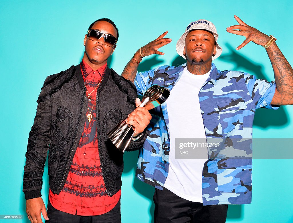 Recording artists Jeremih and YG pose in the NBC photo booth during the 2015 iHeartRadio Music Awards held at the Shrine Auditorium on March 29, 2015 in Los Angeles, California.--
