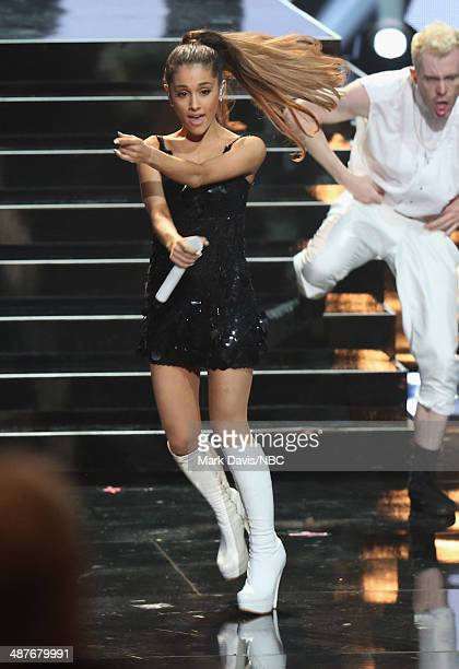 iHEARTRADIO MUSIC AWARDS Pictured Singer Ariana Grande performs onstage during the iHeartRadio Music Awards held at the Shrine Auditorium on May 1...