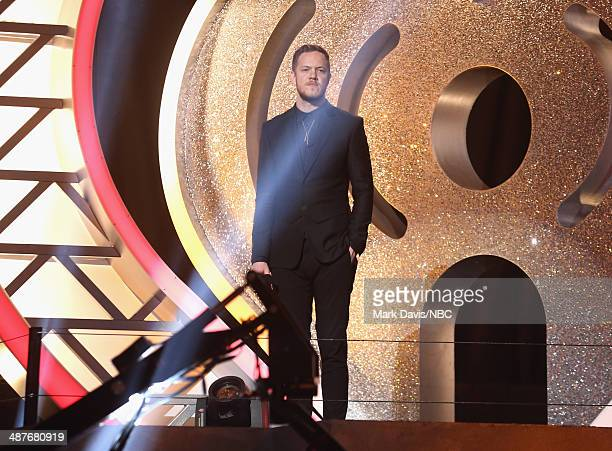 iHEARTRADIO MUSIC AWARDS Pictured Singer Dan Reynolds of Imagine Dragons speaks onstage during the iHeartRadio Music Awards held at the Shrine...