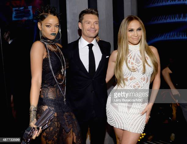 iHEARTRADIO MUSIC AWARDS Pictured Singer Rihanna tv personality Ryan Seacrest and singer Jennifer Lopez attend the iHeartRadio Music Awards held at...