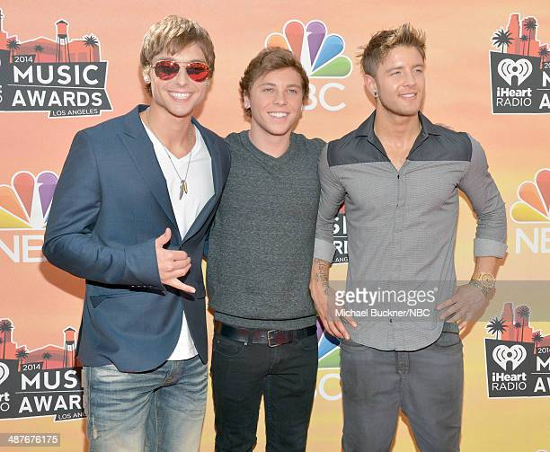 iHEARTRADIO MUSIC AWARDS Pictured Singers Keaton Stromberg Wesley Stromberg and Drew Chadwick of Emblem3 arrive at the iHeartRadio Music Awards held...