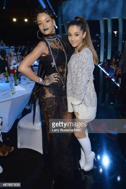 iHEARTRADIO MUSIC AWARDS Pictured Singers Rihanna and Ariana Grande attend the iHeartRadio Music Awards held at the Shrine Auditorium on May 1 2014