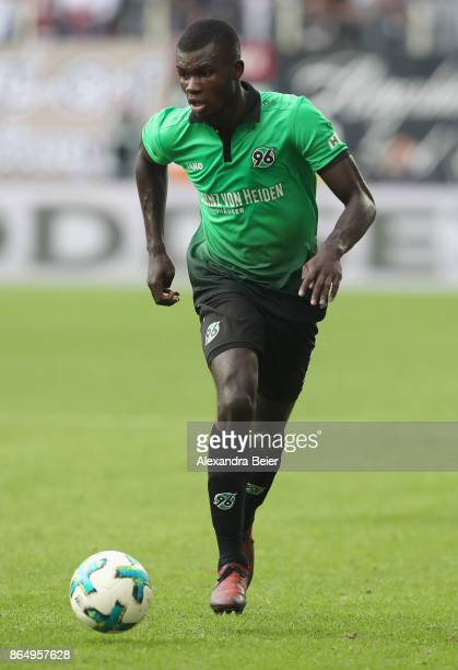 Ihlas Bebou of Hannover 96 kicks the ball during the Bundesliga match between FC Augsburg and Hannover 96 at WWKArena on October 21 2017 in Augsburg...