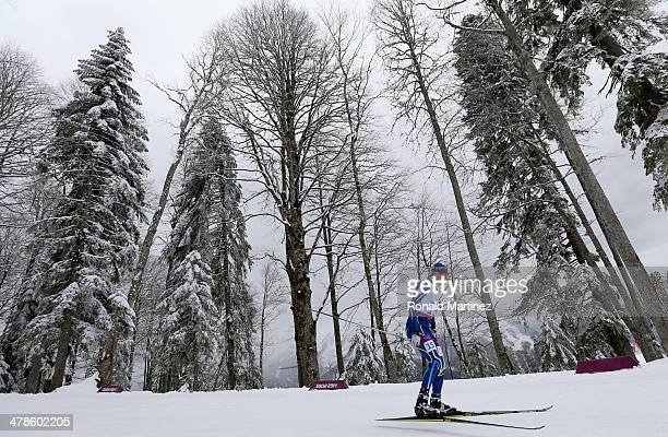 Ihor Reptyukh of Ukraine competes in the Men's 15km Standing Biathlon during day seven of Sochi 2014 Paralympic Winter Games at Laura Crosscountry...