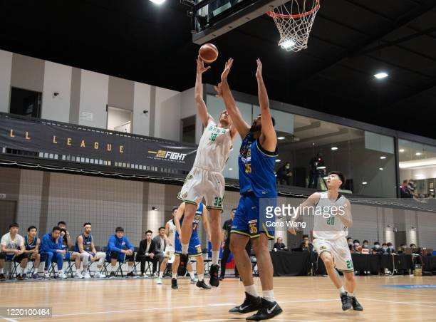 Ihor Zaytsev of Taiwan Beer attempt to layup during the SBL Finals Game One between Taiwan Beer and Yulon Luxgen Dinos at Hao Yu Trainning Center on...