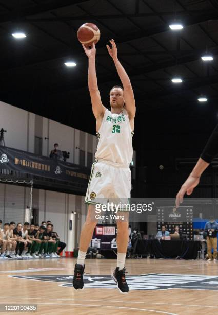 Ihor Zaytsev of Taiwan Beer attempt to jump shot during the SBL Finals Game One between Taiwan Beer and Yulon Luxgen Dinos at Hao Yu Trainning Center...