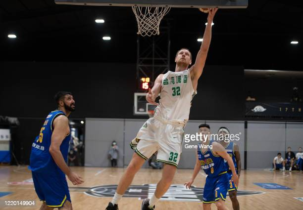 Ihor Zaytsev of Taiwan Beer made a layup shot during the SBL Finals Game One between Taiwan Beer and Yulon Luxgen Dinos at Hao Yu Trainning Center on...