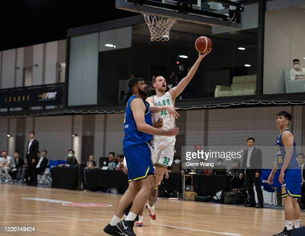 Ihor Zaytsev of Taiwan Beer mafe a layup shot during the SBL Finals Game One between Taiwan Beer and Yulon Luxgen Dinos at Hao Yu Trainning Center on...