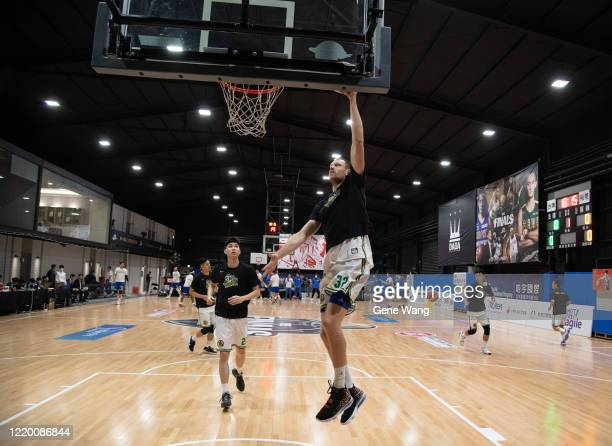 Ihor Zaytsev of Taiwan Beer practice prior to the SBL Finals Game One between Taiwan Beer and Yulon Luxgen Dinos at Hao Yu Trainning Center on April...