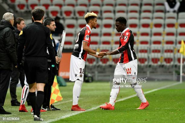 Ihsan Sacko and Jean Victor Makengo of Nice during the Ligue 1 match between OGC Nice and Toulouse at Allianz Riviera on February 3 2018 in Nice