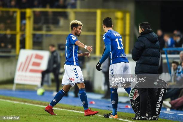 Ihsan Sacko and Jeremy Blayac of Strasbourg during the Ligue 1 match between Strasbourg and Guingamp at La Meinau Stadium on January 11 2018 in...