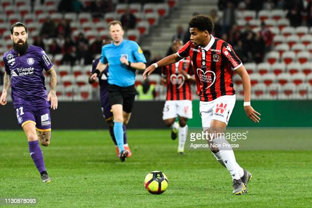 Ihsan Sacko of Nice during the Ligue 1 match between Nice and Toulouse at Allianz Riviera Stadium on March 15 2019 in Nice France