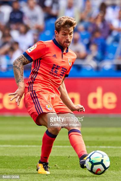 Iñigo Martinez of Real Sociedad in action during the La Liga match between Deportivo La Coruna and Real Sociedad at Riazor Abanca Stadium on...
