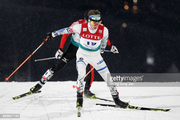 Iikka Herola of Finland competes in the Individual Gundersen 10km Large Hill during the FIS Nordic Combined World Cup presented by Viessmann Test...
