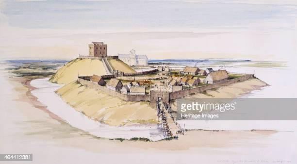 Iillustrative reconstruction of York Castle North Yorkshire as it might have looked soon after construction with the Minster beyond 1985 York Castle...