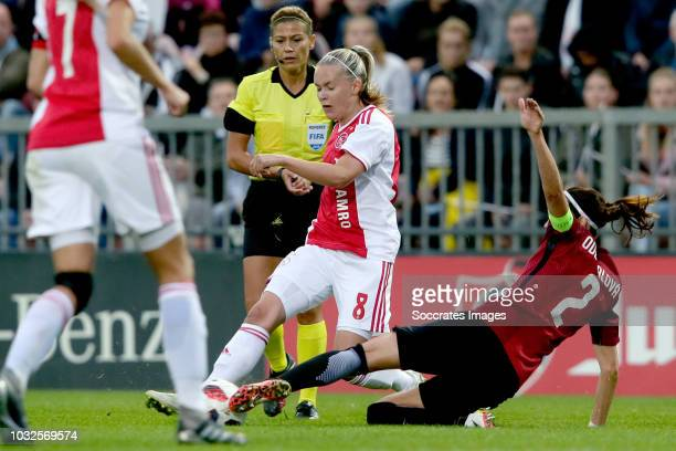 Iina Salmi of Ajax Women Adela Odehnalova of Sparta Praha Women during the UEFA Champions League Women match between Ajax v Sparta Prague at the De...