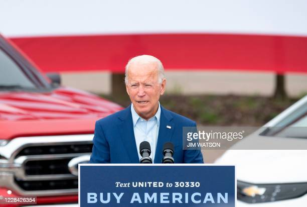 Iit say canDemocratic presidential candidate Joe Biden speaks at the United Auto Workers Union Headquarters in Warren, Michigan, on September 9, 2020.
