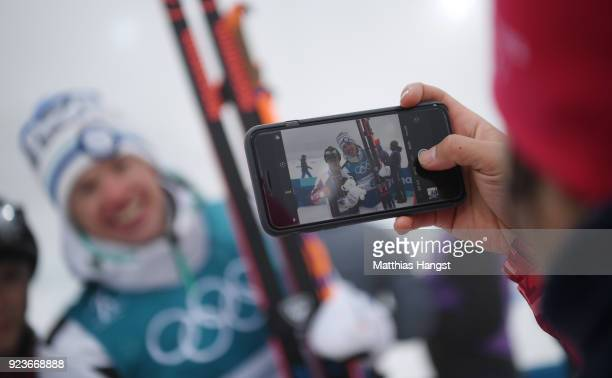 Iivo Niskanen of Finland celebrates after winning the gold medal during the Men's 50km Mass Start Classic on day 15 of the PyeongChang 2018 Winter...