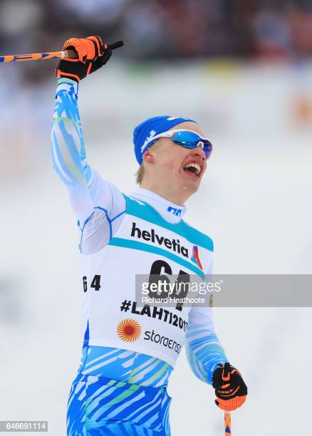Iivo Niskanen of Finland celebrates victory in the Men's 15KM Cross Country during the FIS Nordic World Ski Championships on March 1 2017 in Lahti...