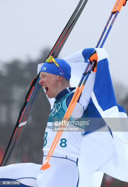 Iivo Niskanen of Finland celebrates winning the gold medal during the Men's 50km Mass Start Classic on day 15 of the PyeongChang 2018 Winter Olympic...