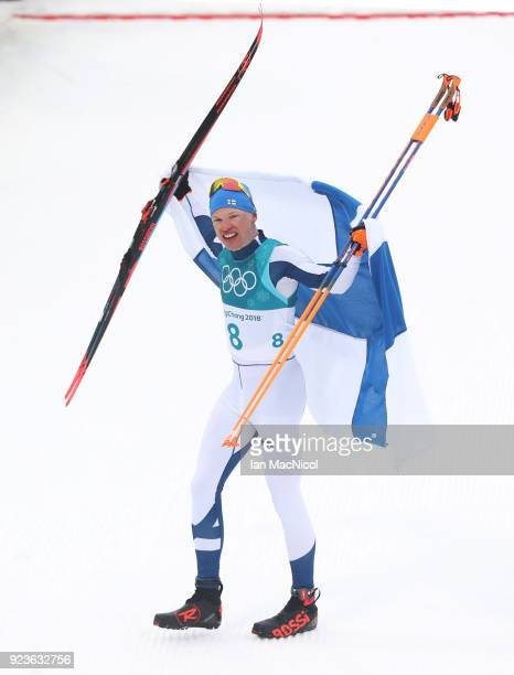Iivo Niskanen of Finland celebrates winning the Men's 50km Mass Start Classic at Alpensia Cross-Country Centre on February 24, 2018 in...
