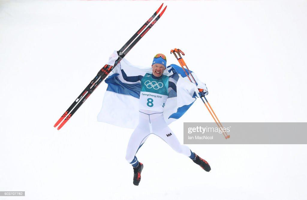 Iivo Niskanen of Finland celebrates winning the Men's 50km Mass Start Classic at Alpensia Cross-Country Centre on February 24, 2018 in Pyeongchang-gun, South Korea.