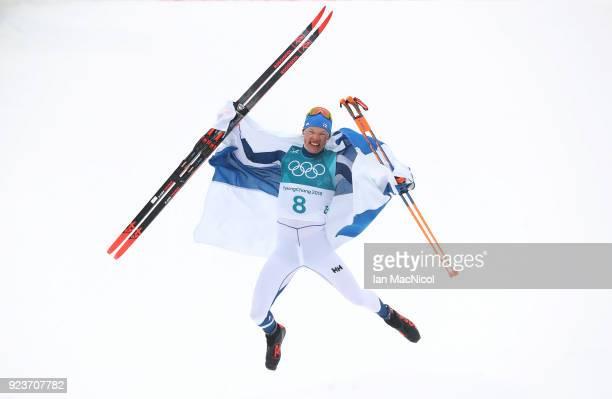 Iivo Niskanen of Finland celebrates winning the Men's 50km Mass Start Classic at Alpensia CrossCountry Centre on February 24 2018 in Pyeongchanggun...
