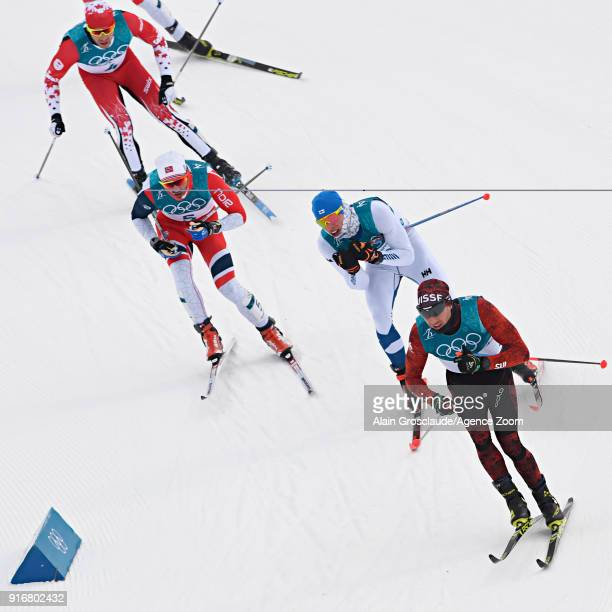 Iivo Niskanen of Finland Dario Cologna of Switzerland Hans Christer Holund of Norway competes during the CrossCountry Men's Skiathlon at Alpensia...