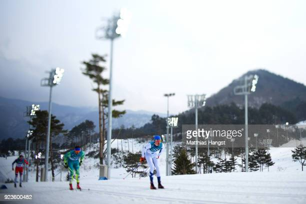 Iivo Niskanen of Finland leads the field during the Men's 50km Mass Start Classic on day 15 of the PyeongChang 2018 Winter Olympic Games at Alpensia...