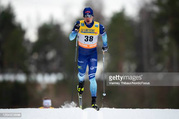 Iivo Niskanen of Finland takes first place during the Men's 15 km C at the FIS Cross-Country World Cup Lahti on February 29, 2020 in Lahti, Finland.