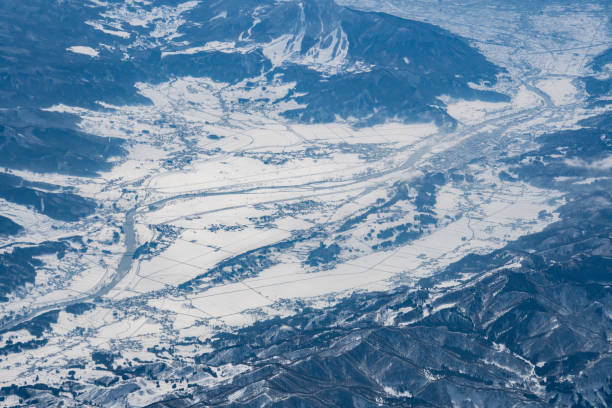 Iiyama city in Nagano prefecture of Japan aerial view from airplane
