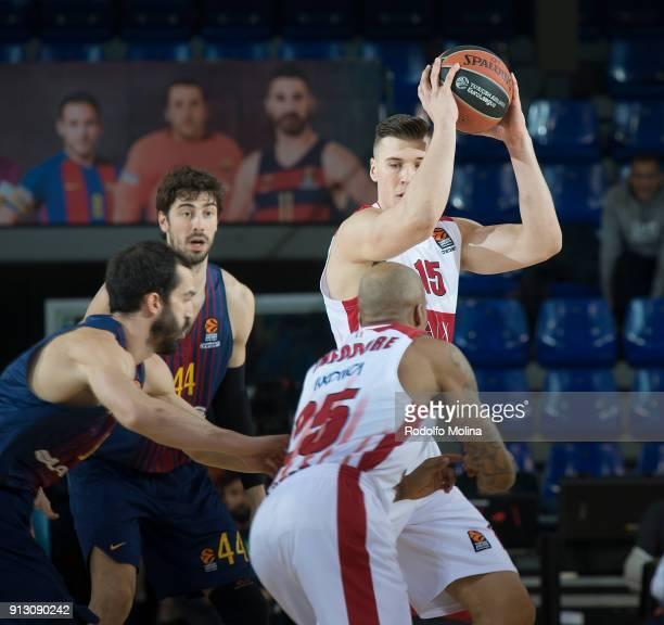 iKaleb Tarczewski #15 of AX Armani Exchange Olimpia Milan in action during the 2017/2018 Turkish Airlines EuroLeague Regular Season Round 21 game...