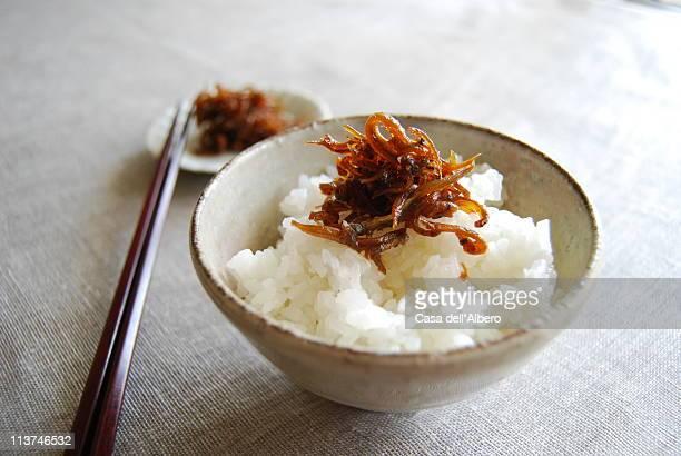 ikanago with rice - 米 ストックフォトと画像