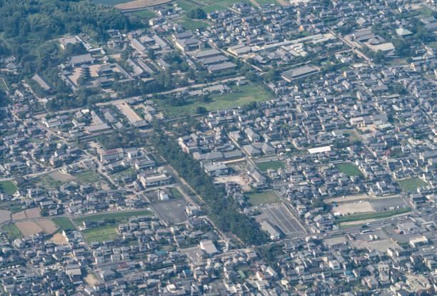 Ikaruga town in Nara of Japan aerial view from airplane