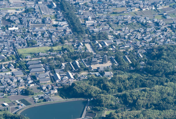 Ikaruga town in Nara prefecture of Japan aerial view from airplane